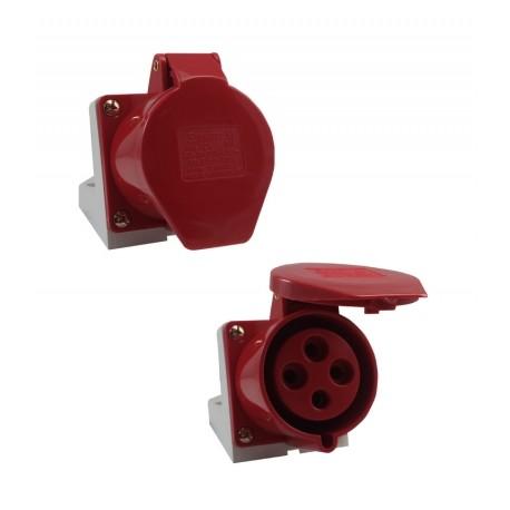 Tomada sobrepor 3P+T 32A 6H IP44 380V Vermelho Sibratec