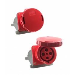 Tomada sobrepor 3P+T 63A 6H IP67 380V Vermelho Sibratec